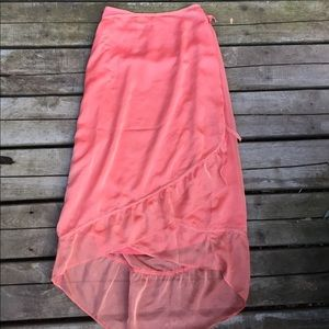 Sheer salmon pastel pink flowy skirt wrap vintage